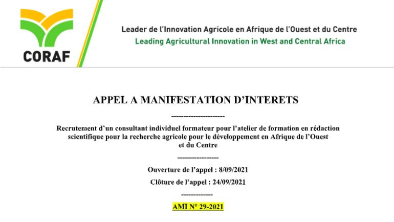 APPEL A MANIFESTATION D'INTERETS   Recrutement d'un consultant individuel formateur pour l'atelier de formation en rédaction scientifique pour la recherche agricole pour le développement en Afrique de l'Ouest                  et du Centre
